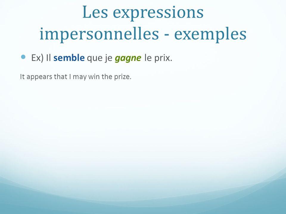 Les expressions impersonnelles - exemples