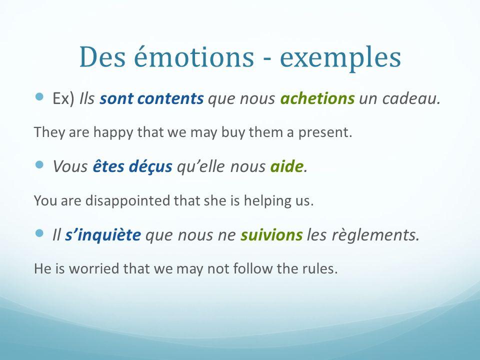 Des émotions - exemples