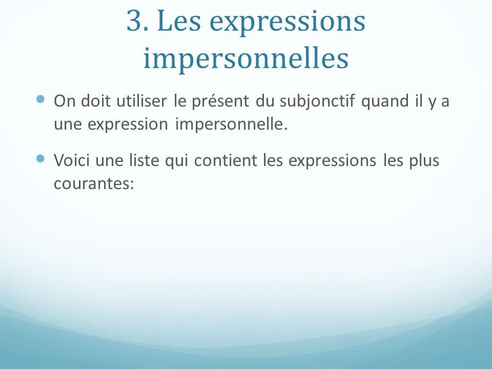 3. Les expressions impersonnelles