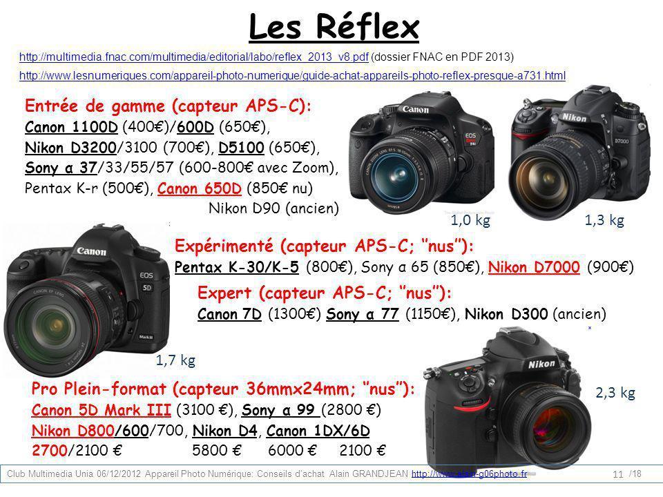 Les Réflex Entrée de gamme (capteur APS-C): 1,0 kg 1,3 kg