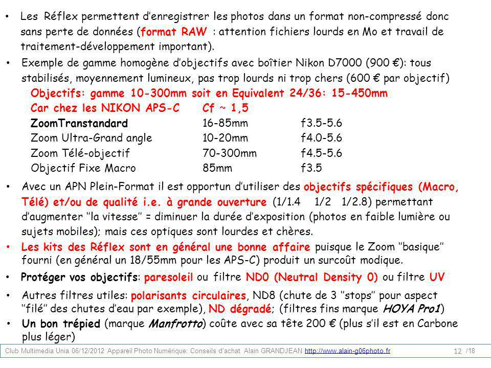Objectifs: gamme 10-300mm soit en Equivalent 24/36: 15-450mm
