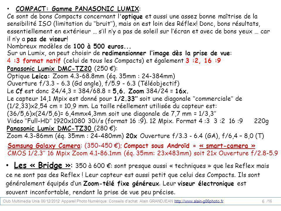 COMPACT: Gamme PANASONIC LUMIX: