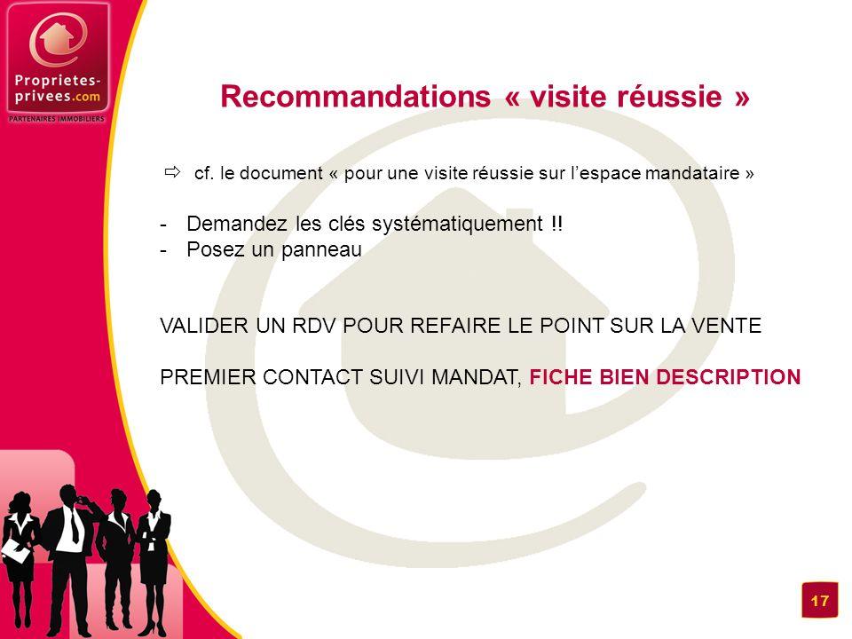 Recommandations « visite réussie »