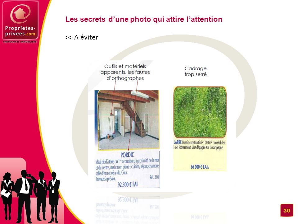 Les secrets d'une photo qui attire l'attention >> A éviter