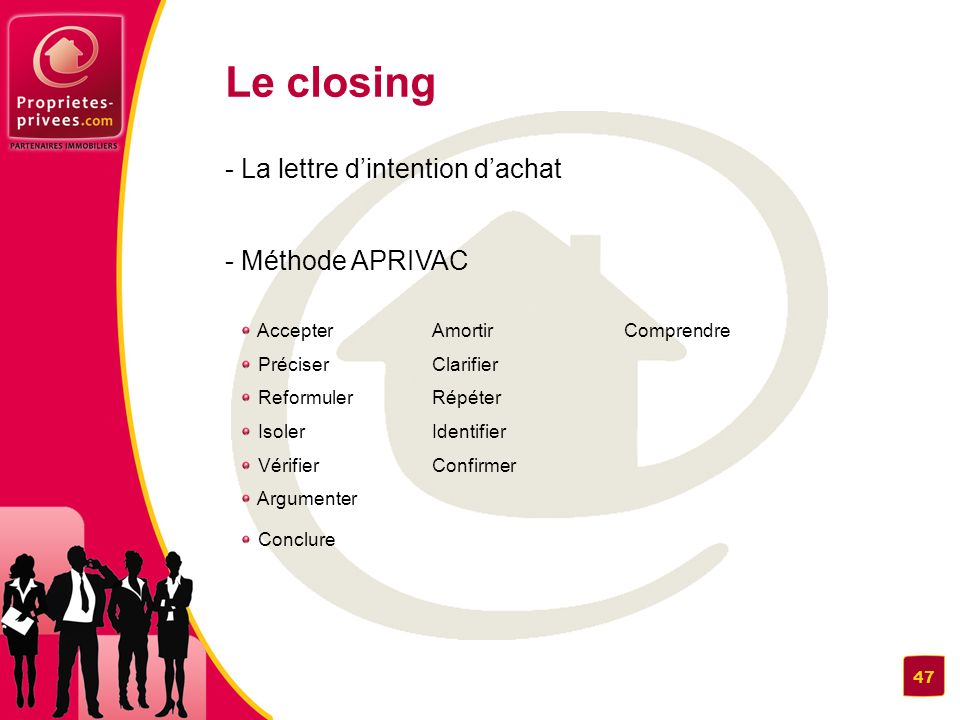 Le closing - La lettre d'intention d'achat - Méthode APRIVAC 48