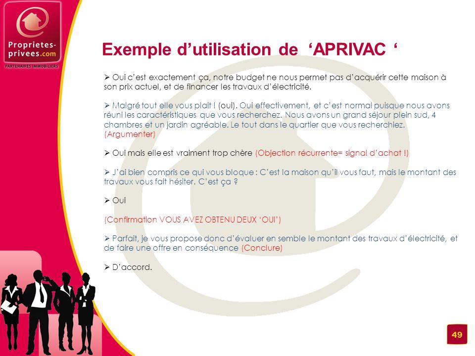 Exemple d'utilisation de 'APRIVAC '