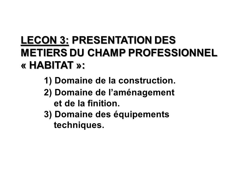LECON 3: PRESENTATION DES METIERS DU CHAMP PROFESSIONNEL « HABITAT »: