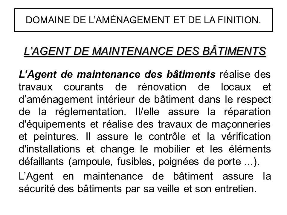 DOMAINE DE L'AMÉNAGEMENT ET DE LA FINITION.