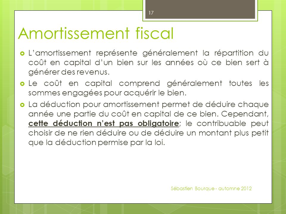 Amortissement fiscal