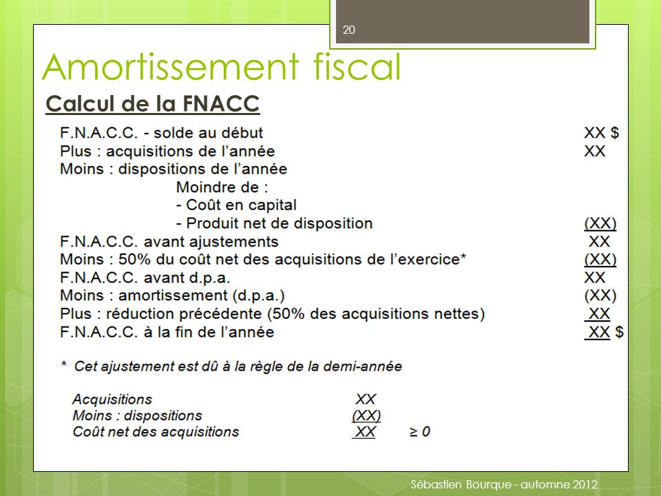 Amortissement fiscal Calcul de la FNACC