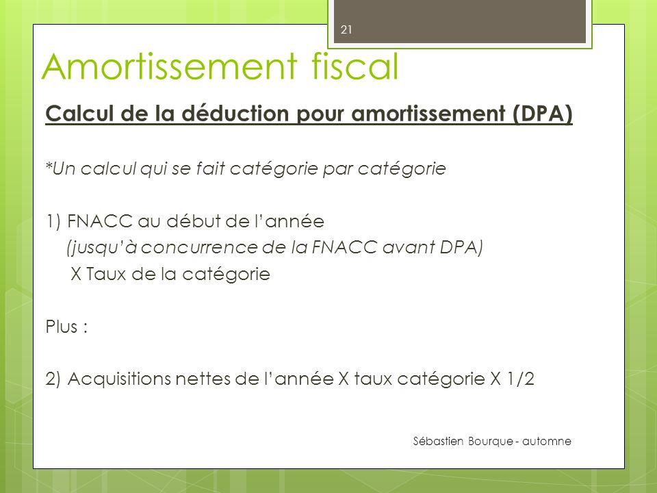 Amortissement fiscal Calcul de la déduction pour amortissement (DPA)