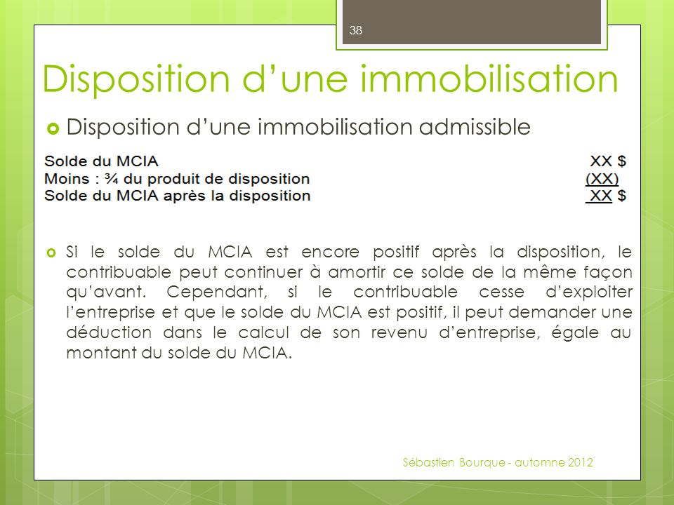 Disposition d'une immobilisation