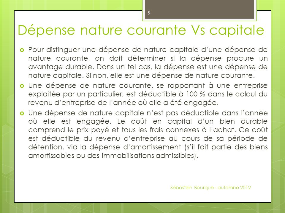 Dépense nature courante Vs capitale