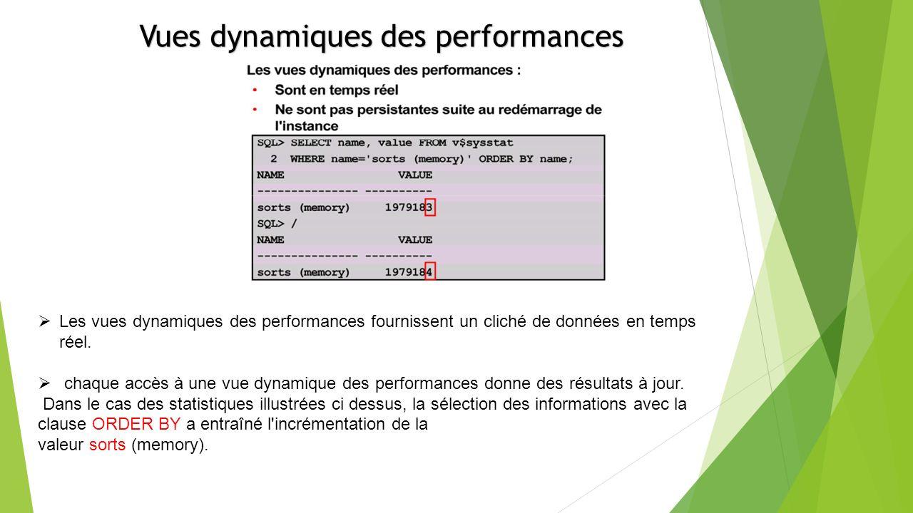 Vues dynamiques des performances