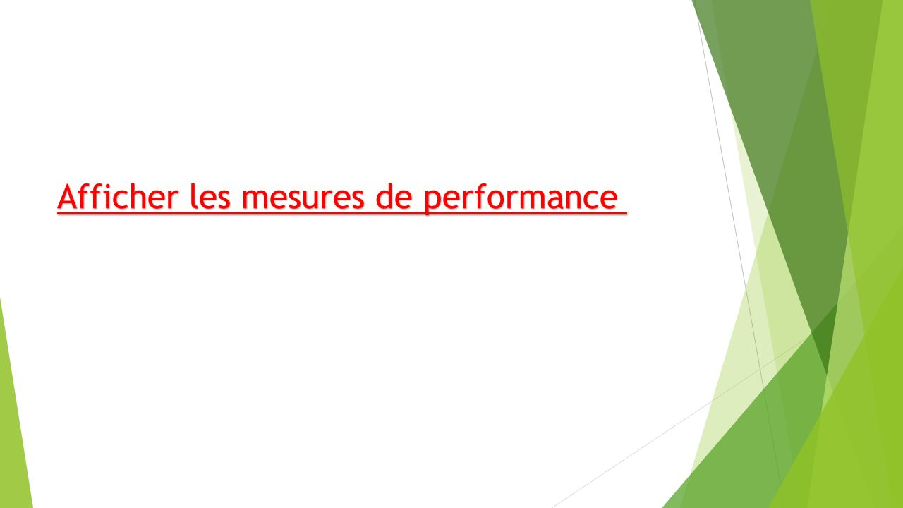 Afficher les mesures de performance