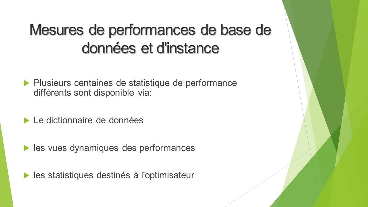 Mesures de performances de base de données et d instance