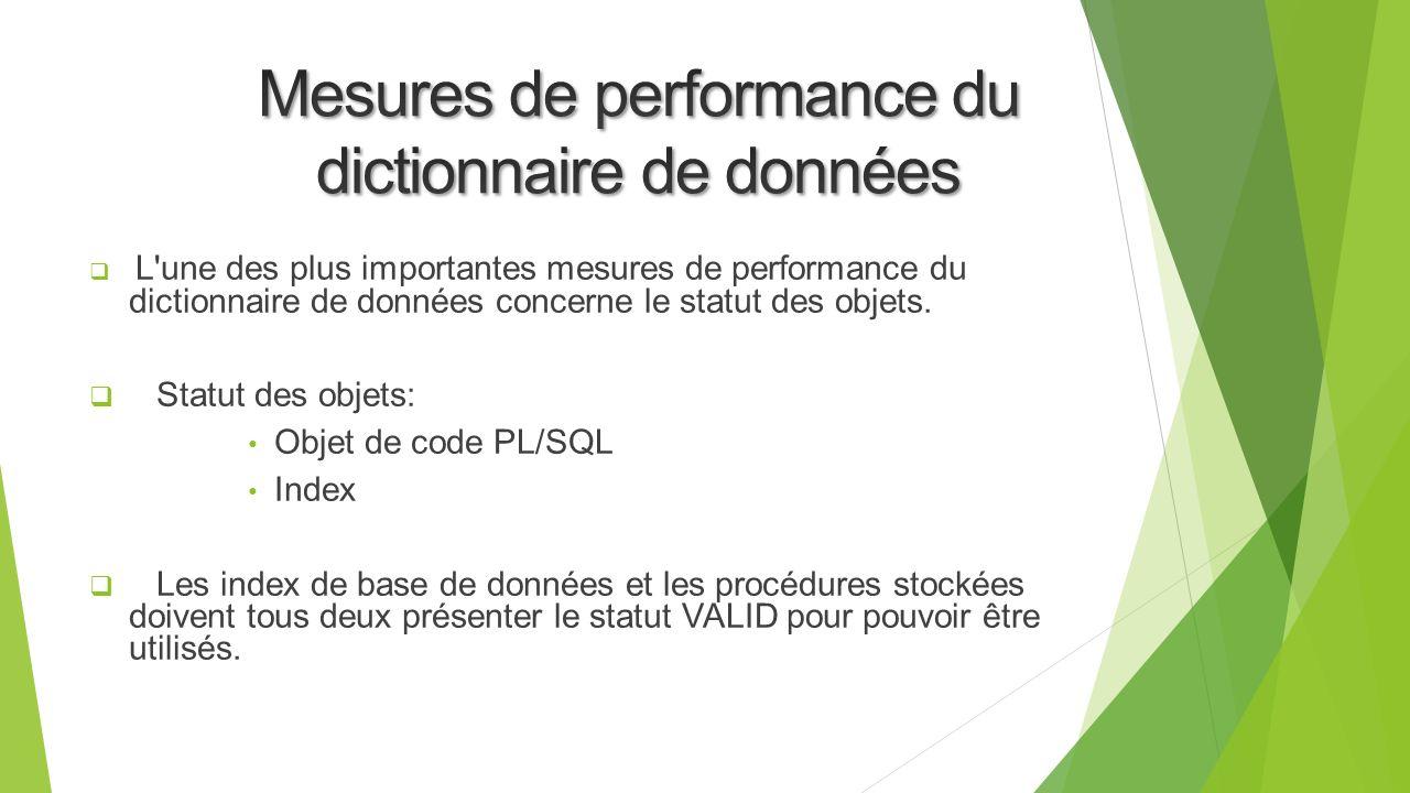 Mesures de performance du dictionnaire de données