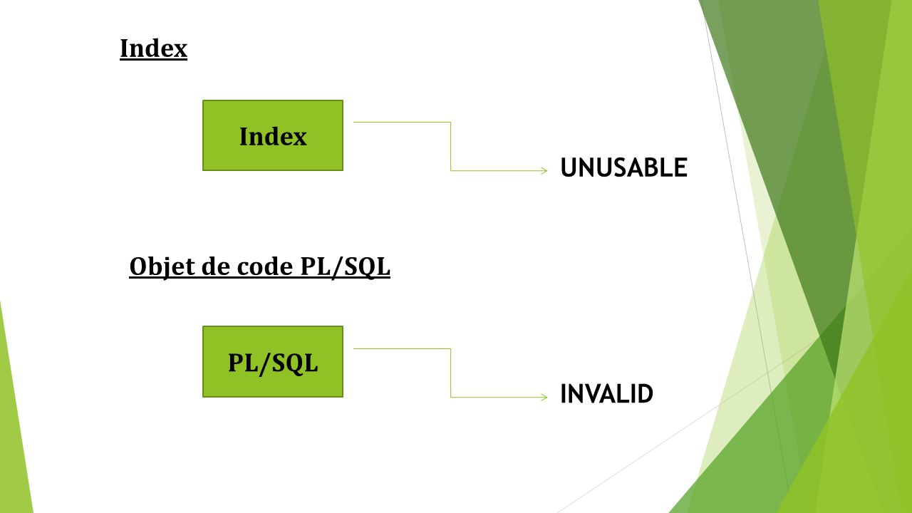 Index Index UNUSABLE Objet de code PL/SQL PL/SQL INVALID