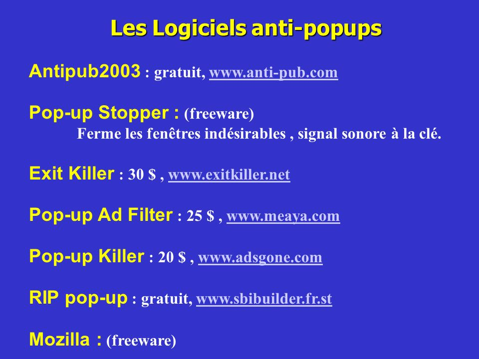 Les Logiciels anti-popups