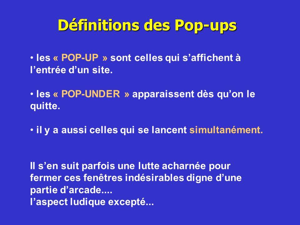 Définitions des Pop-ups
