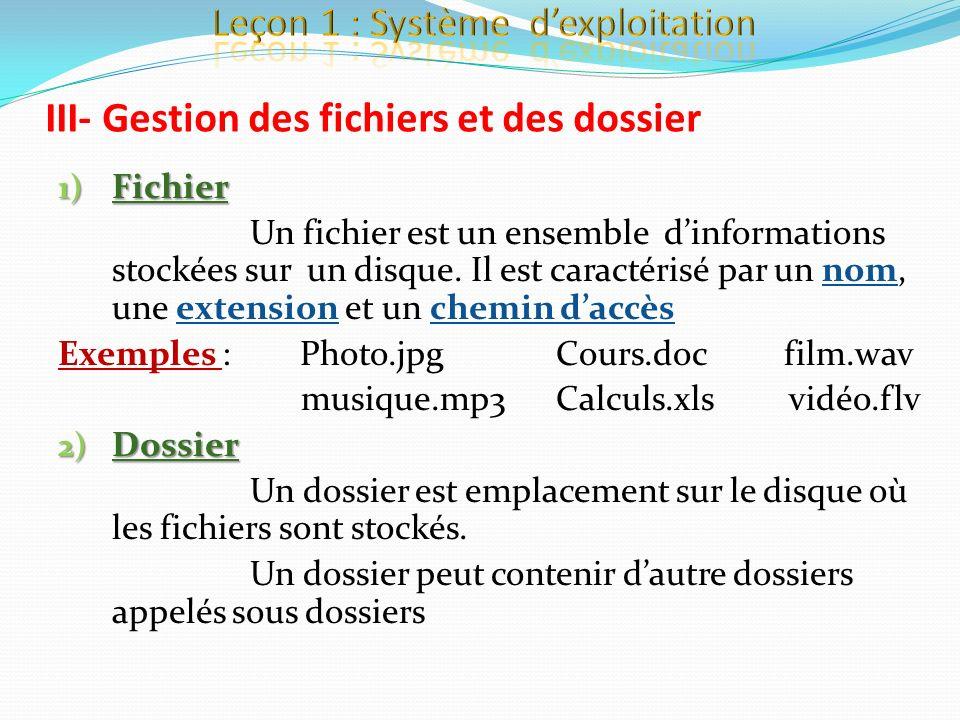 III- Gestion des fichiers et des dossier