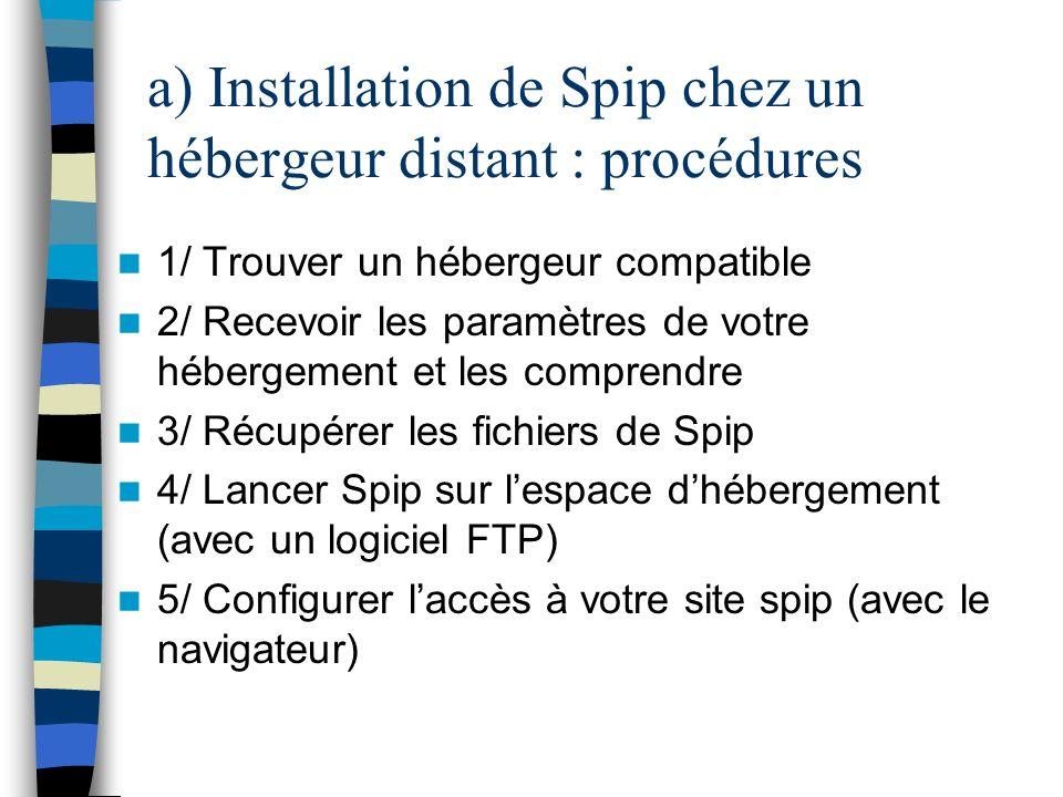 a) Installation de Spip chez un hébergeur distant : procédures