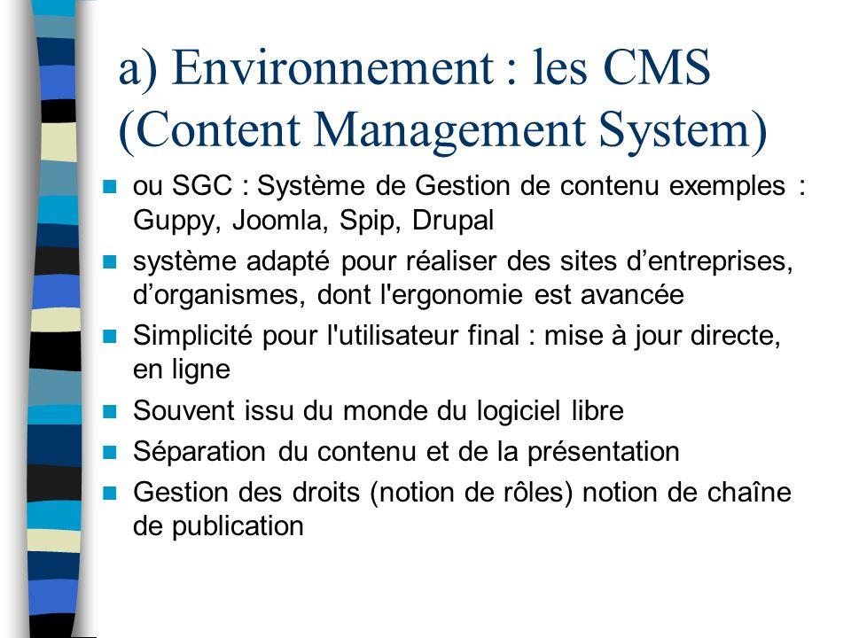 a) Environnement : les CMS (Content Management System)