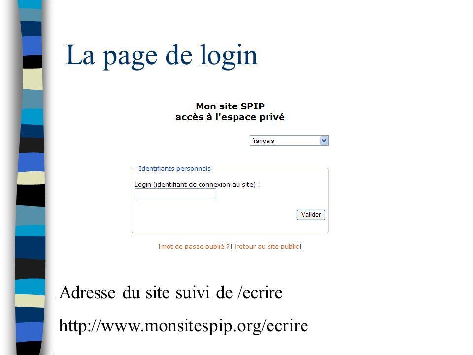 La page de login Adresse du site suivi de /ecrire