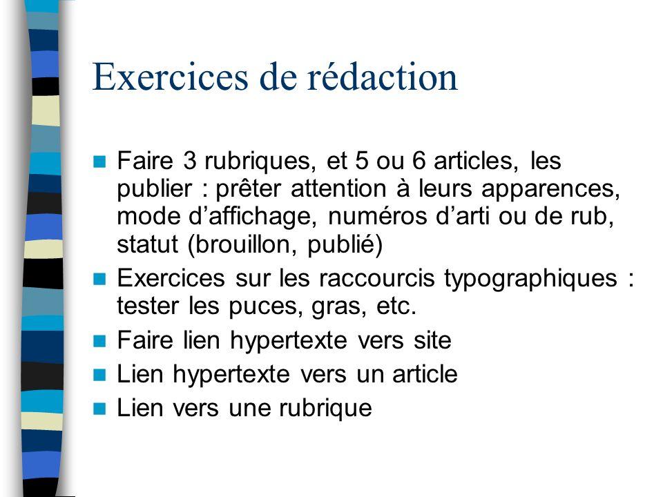 Exercices de rédaction