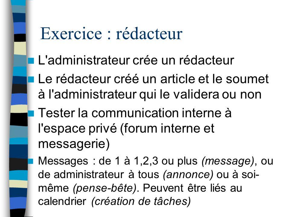 Exercice : rédacteur L administrateur crée un rédacteur