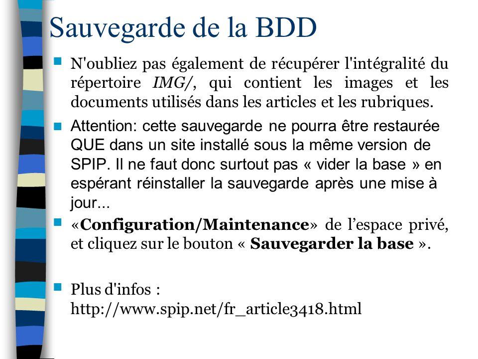 Sauvegarde de la BDD