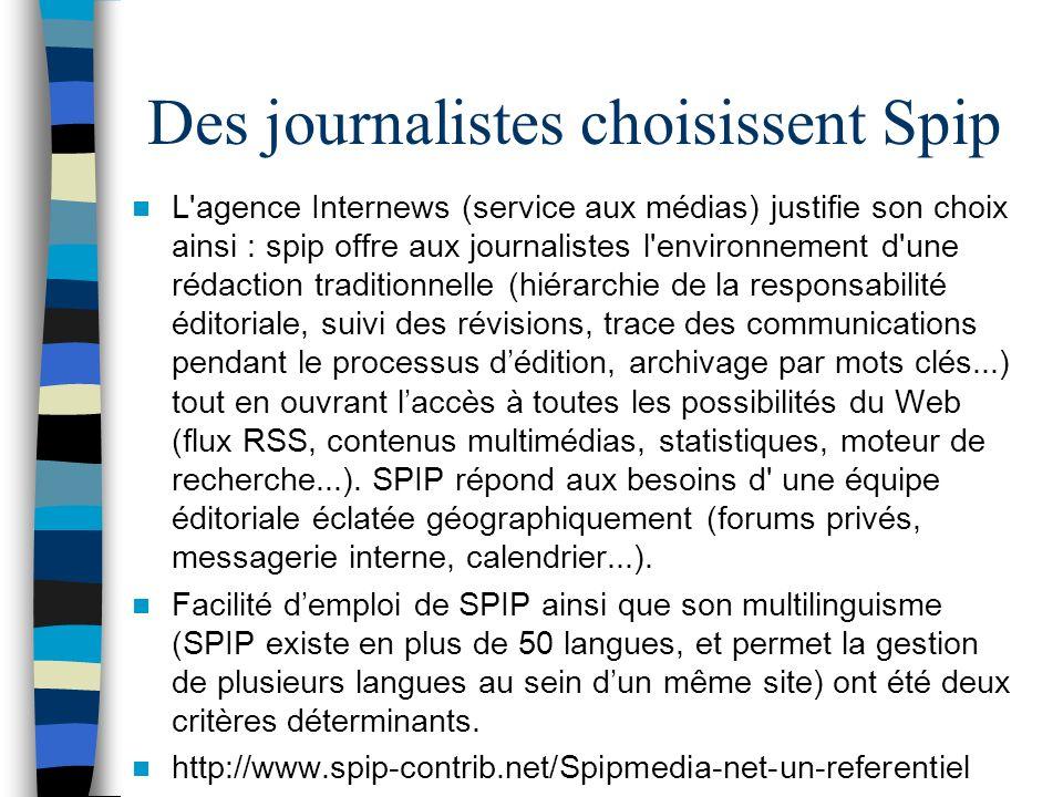 Des journalistes choisissent Spip