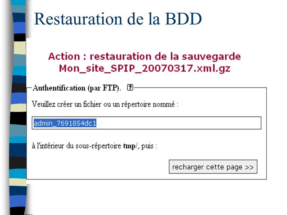 Restauration de la BDD