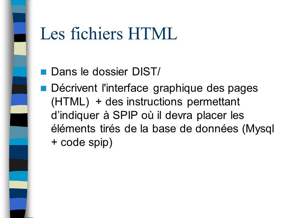 Les fichiers HTML Dans le dossier DIST/