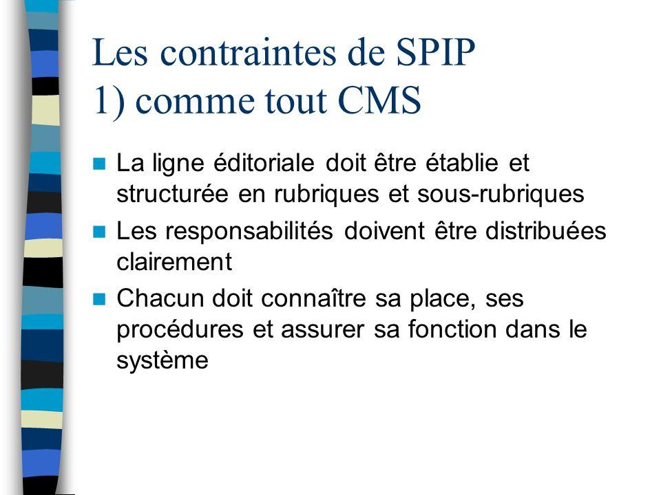 Les contraintes de SPIP 1) comme tout CMS