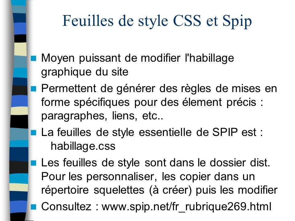 Feuilles de style CSS et Spip