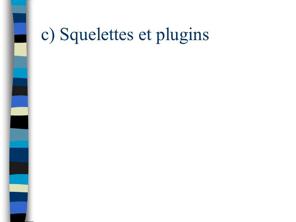 c) Squelettes et plugins