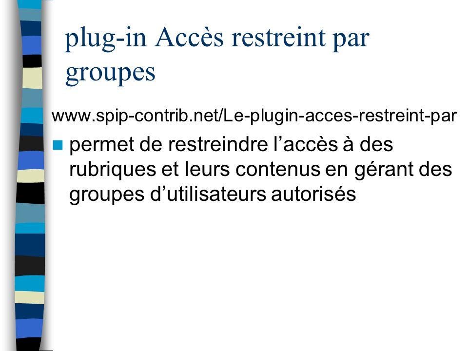 plug-in Accès restreint par groupes
