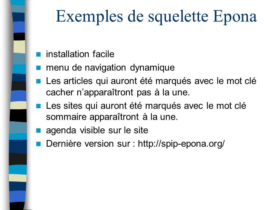 Exemples de squelette Epona