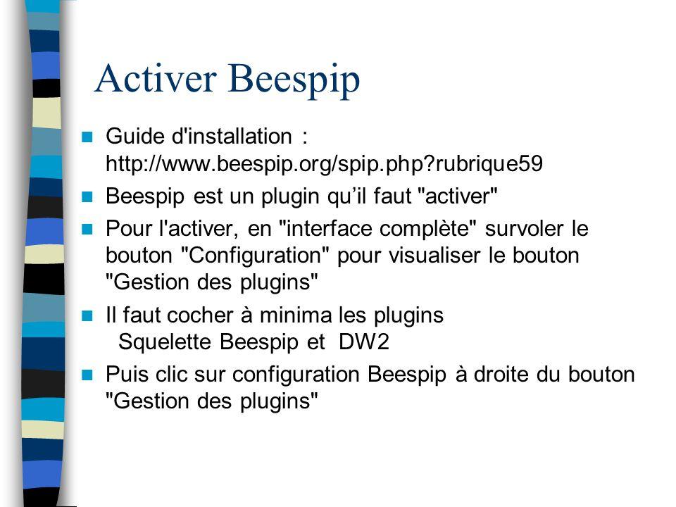 Activer Beespip Guide d installation : http://www.beespip.org/spip.php rubrique59. Beespip est un plugin qu'il faut activer