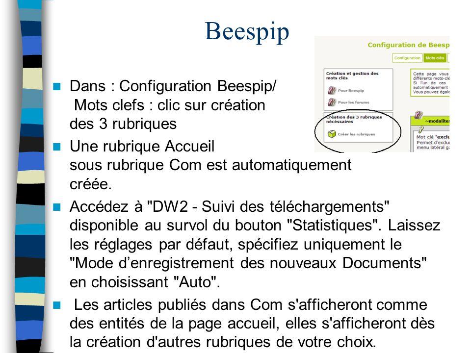 Beespip Dans : Configuration Beespip/ Mots clefs : clic sur création des 3 rubriques.