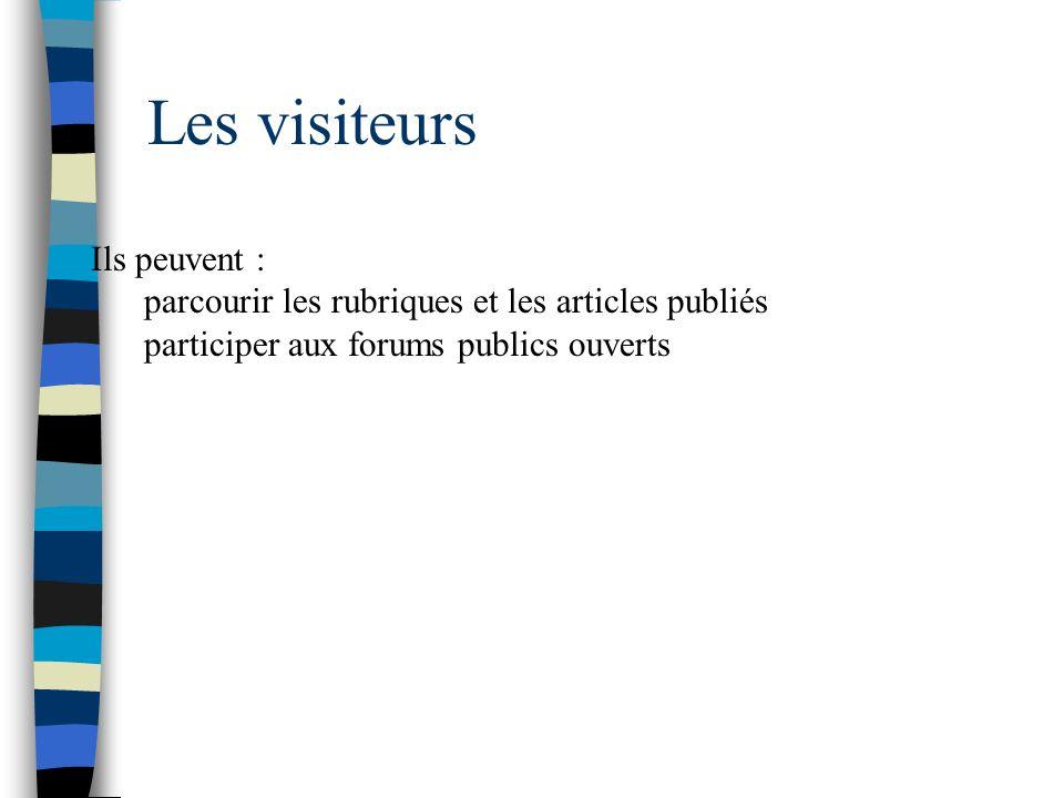 Les visiteurs Ils peuvent :