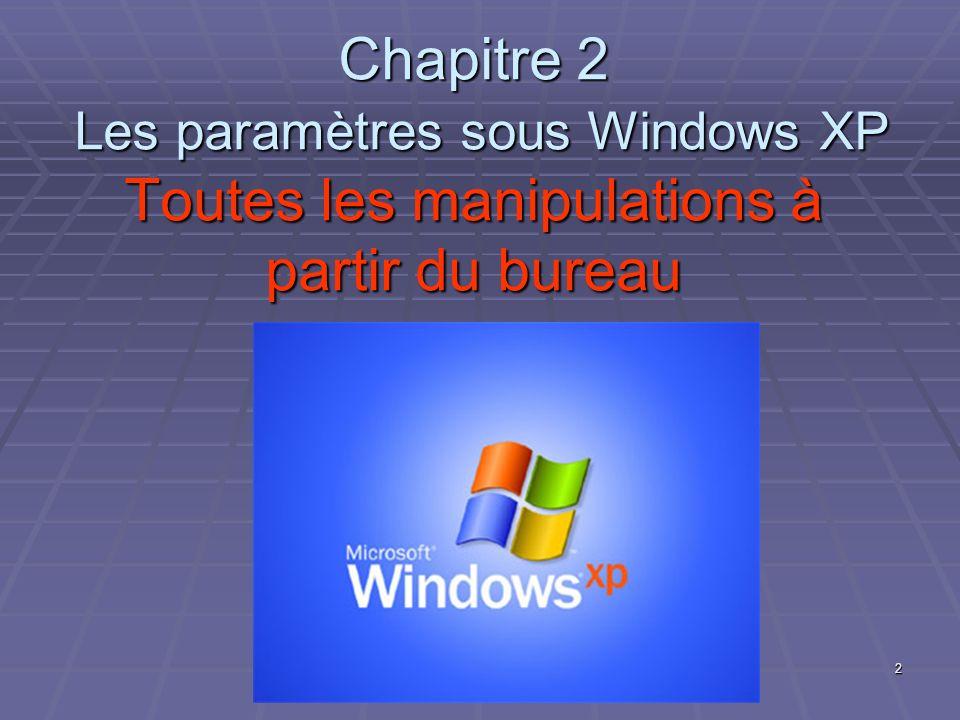 Chapitre 2 Les paramètres sous Windows XP Toutes les manipulations à partir du bureau