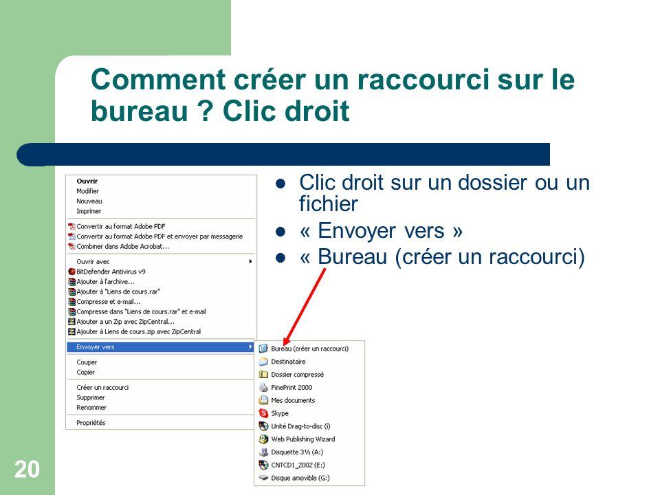 Comment créer un raccourci sur le bureau Clic droit