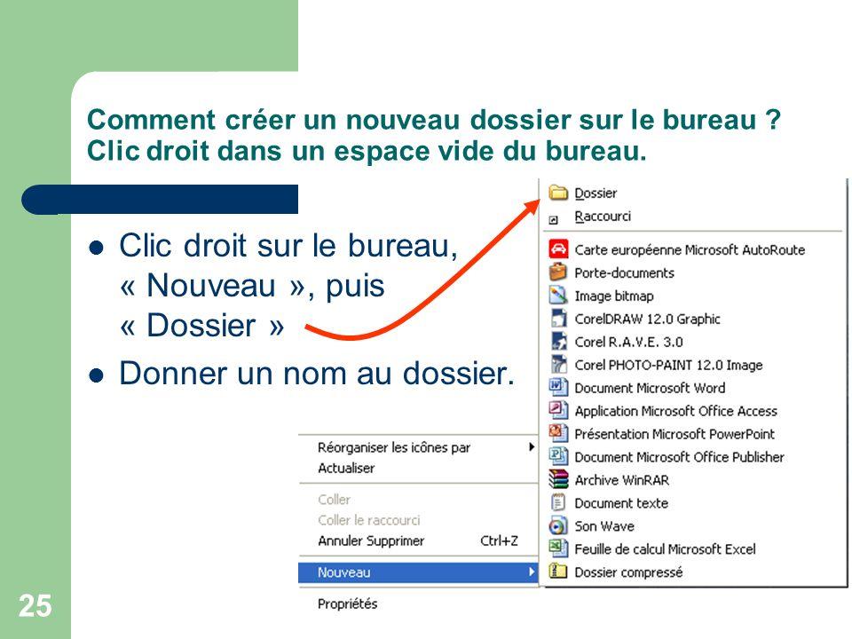 Clic droit sur le bureau, « Nouveau », puis « Dossier »