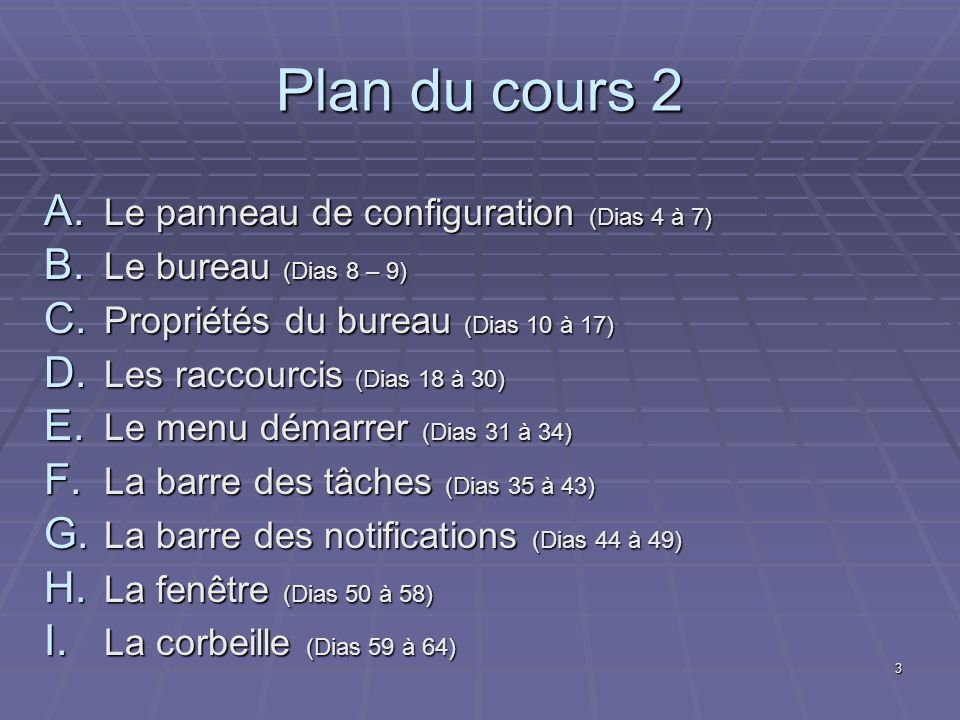 Plan du cours 2 Le panneau de configuration (Dias 4 à 7)