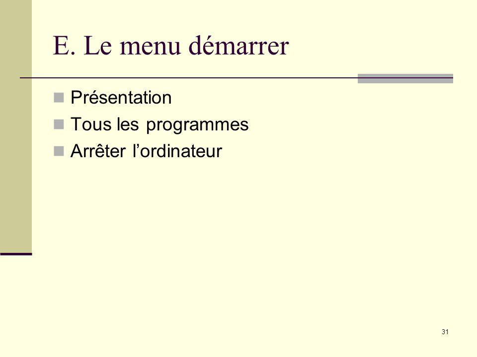E. Le menu démarrer Présentation Tous les programmes
