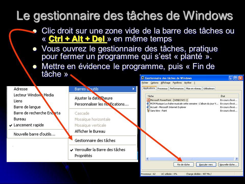 Le gestionnaire des tâches de Windows