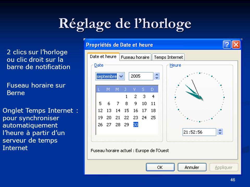 Réglage de l'horloge 2 clics sur l'horloge ou clic droit sur la