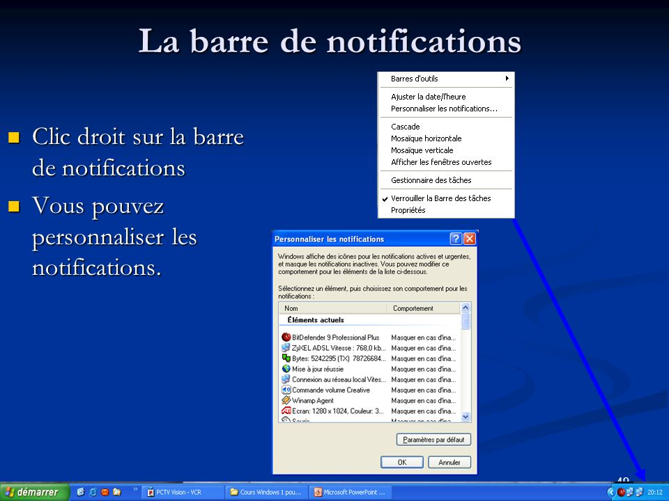 La barre de notifications